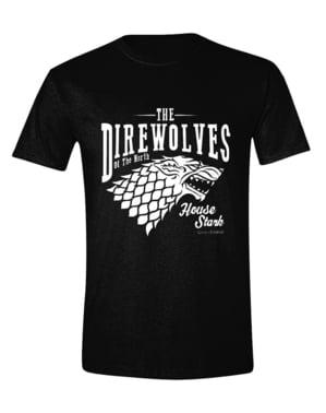 T-shirt preta Casa Stark para homem - Guerra dos Tronos