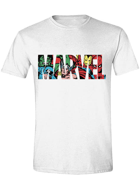 buying now factory outlet casual shoes Marvel Logo T-Shirt for Men in white | Funidelia