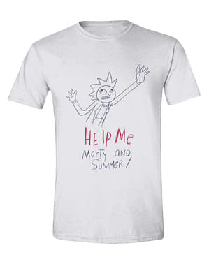 व्हाइट में पुरुषों के लिए रिक और मोर्टी टी-शर्ट