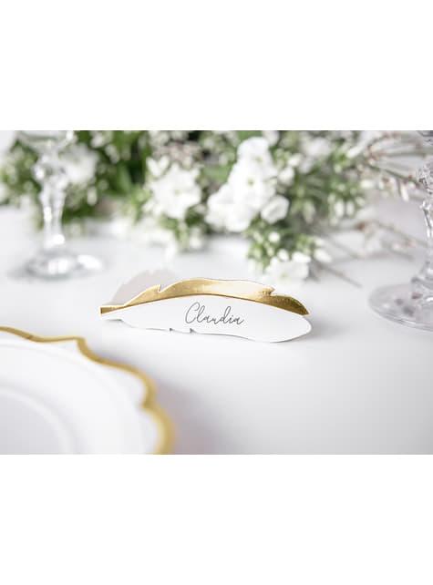 10 marcasitios para mesa con forma de pluma - Heaven Sent - para tus fiestas