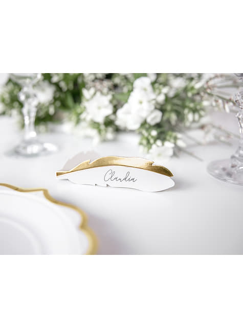 10 Feather Paper Place Cards - Heaven Sent