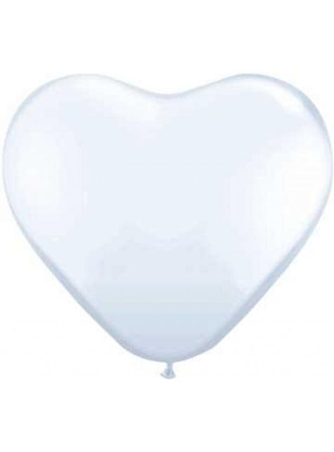 100 balões de latex em forma de coração branco (25cm)