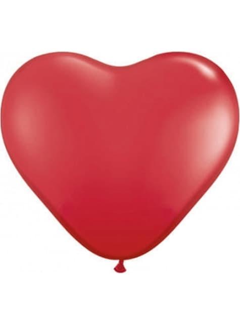 100 balões de latex em forma de coração vermelho (25cm)