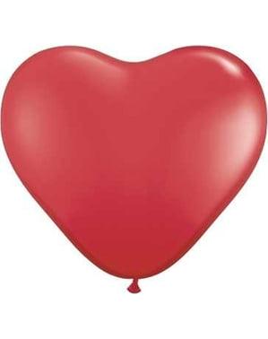 6 latex ballonnen in de vorm van een hart in rood (40 cm)