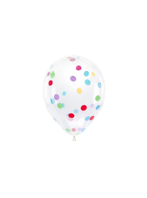 6 globos de látex con confeti de círculos de colores (30 cm)