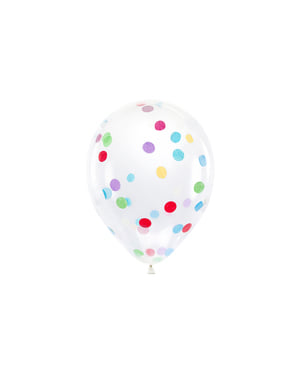 6 latex balloons with colored confetti  (30 cm)