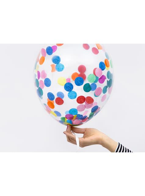 6 globos de látex con confeti de círculos de colores (30 cm) - para tus fiestas