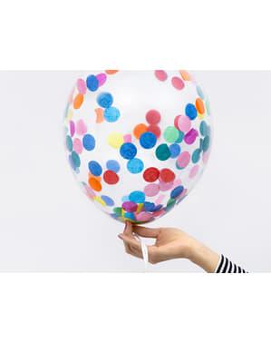 6 palloncini in latex con coriandoli a cerchi colorati (30 cm)