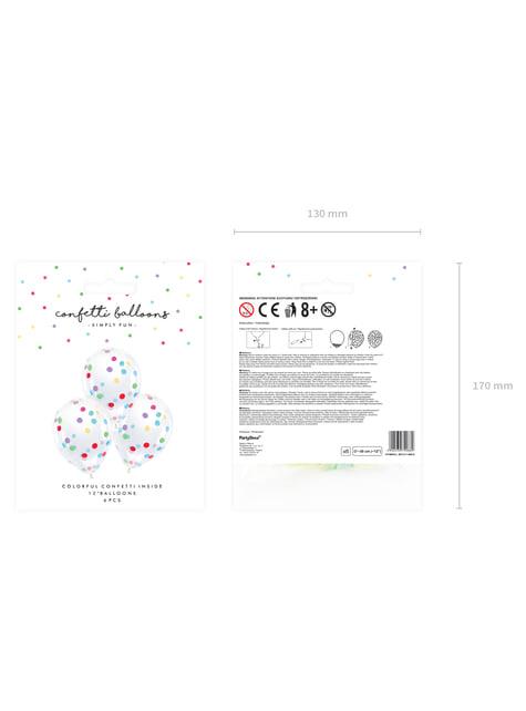 6 globos de látex con confeti de círculos de colores (30 cm) - barato