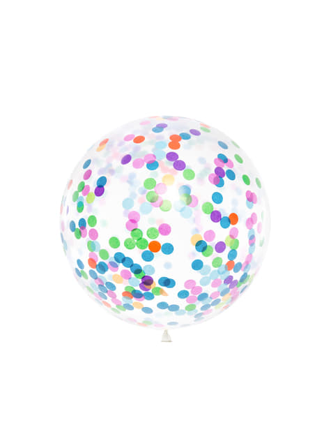 Globo de látex con confeti de círculos de colores