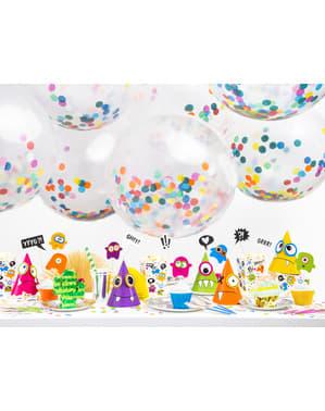 Latex ballon met gekleurde confetti cirkels