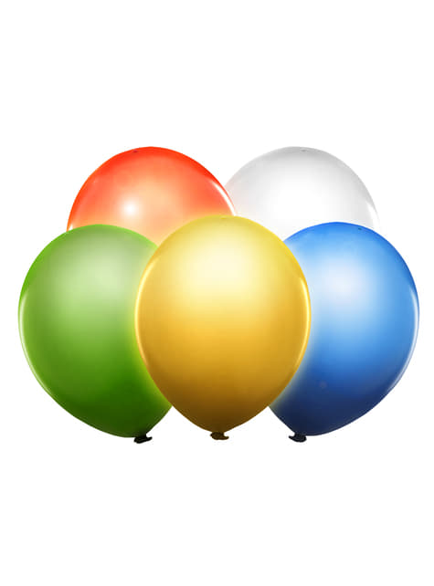 5 balões de várias cores de latex com LED (30cm)