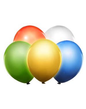 5 ballons couleurs assortiment en latex avec LED (30 cm)
