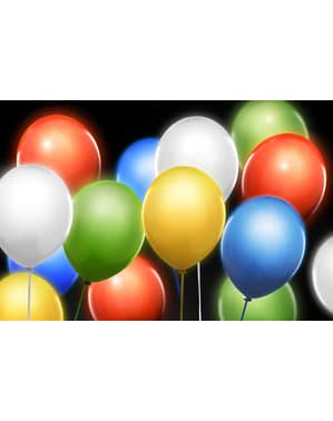 5 latexových balonků v různých barvách with LED (30 cm)
