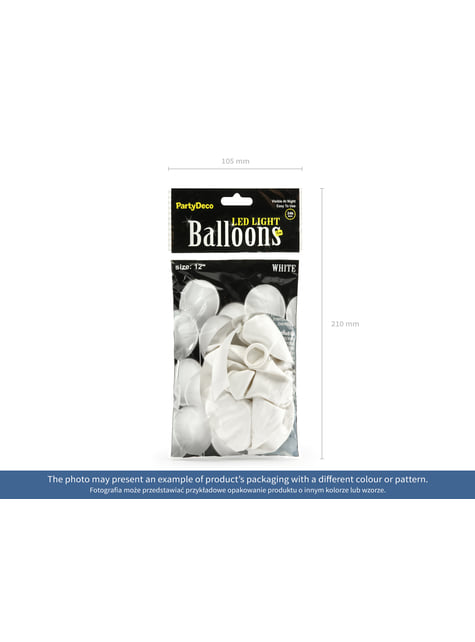 5 latex balloons in assorted colours with LED (30 cm)