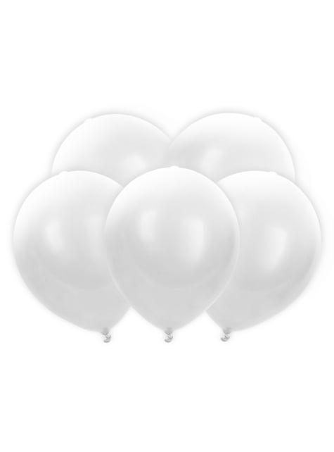 5 balões brancos de latex com LED (30cm)