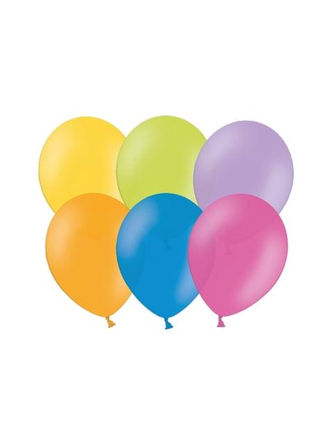 100 balões de várias cores em tons pastel (25cm)