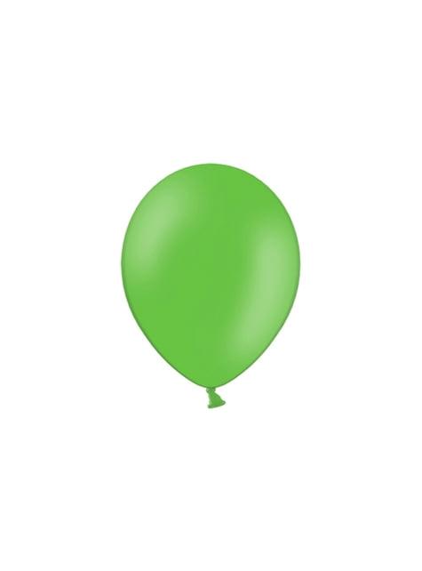 100 balónků v jemně zelené barvě, 29 cm