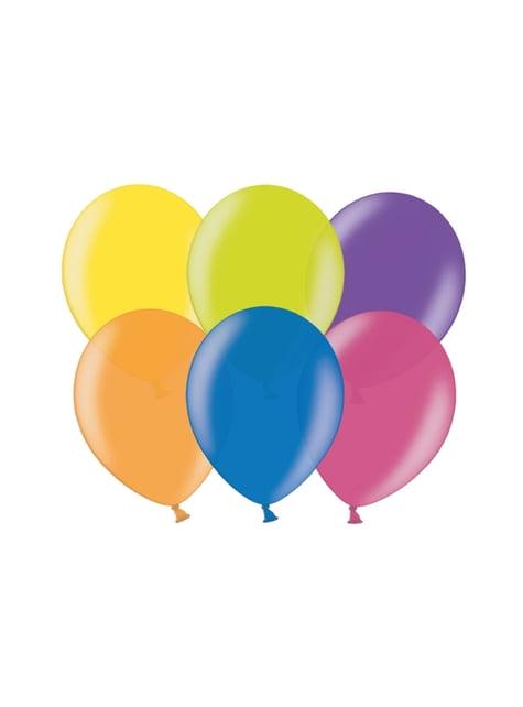 100 ballonnen in geassorteerde heldere kleuren, 23 cm