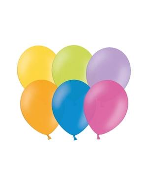 100 balões de 23 cm cores claras sortidos