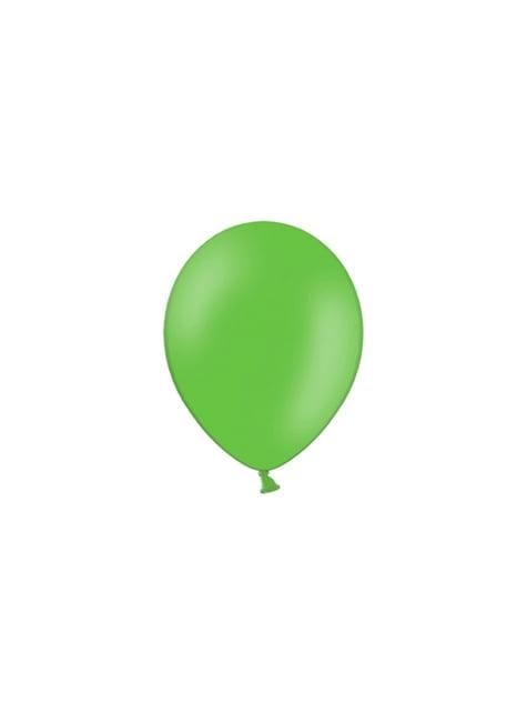 100 balónků v jemně zelené barvě, 23 cm