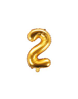 «2» Фольга куля в золоті (35 см)