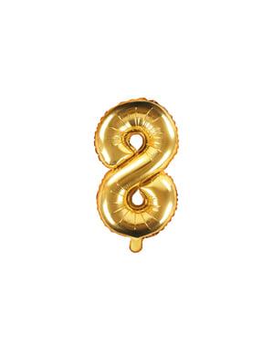 "Fóliový balónek číslo ""8"" zlatý, 35 cm"