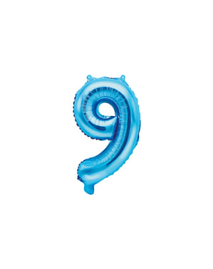 "Fóliový balónek číslo ""9"" modrý, 35 cm"