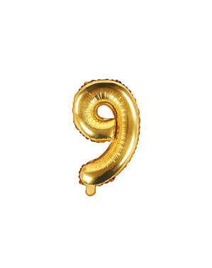 "Fóliový balónek číslo ""9"" zlatý, 35 cm"
