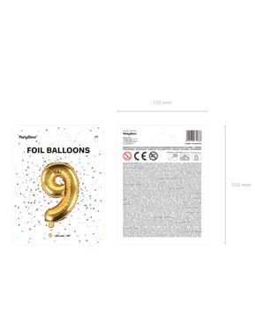 Fóliový balón číslo 9, zlato, 35 cm
