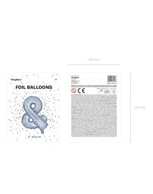 & Folie ballon in zilver met glitter (35cm)