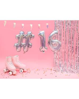 Hashtag folie ballon in zilver met glitter