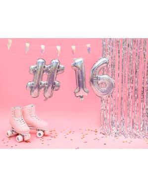 Hashtag Folieballong i silver med glitter