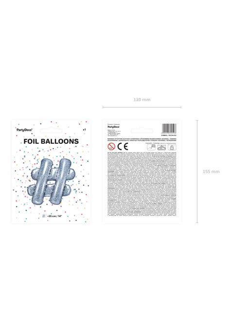 Ballon aluminium hashtag argenté à paillettes