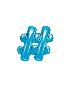Hashtag folie ballon in blauw