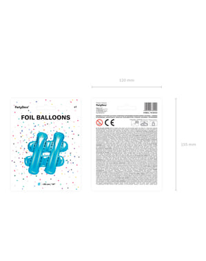 Hashtag foil balloon in blue