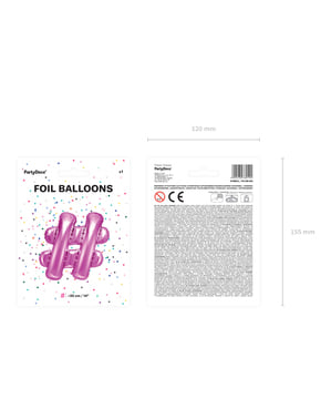 Ballon aluminium hashtag rose foncé