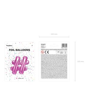 Hashtag foil balloon in dark pink