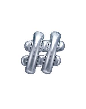 Ballon aluminium hashtag argenté