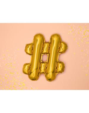 Hashtag foil balloon in gold