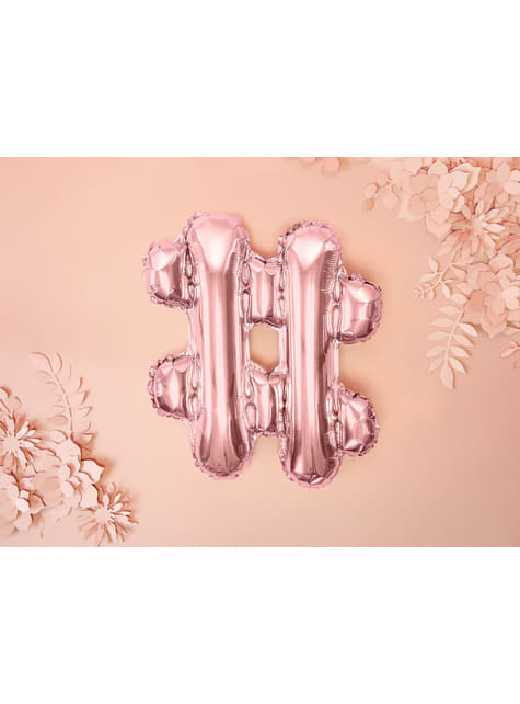 Globo foil hashtag rosa dorado - para tus fiestas