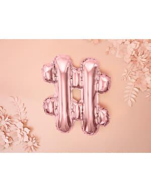 Фолиев балон hashtag в цвят розово злато