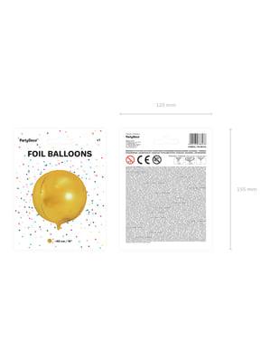 Pallonmuotoinen folioilmapallo kultaisena