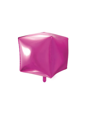 Foil balloon in the shape of a cube in dark pink