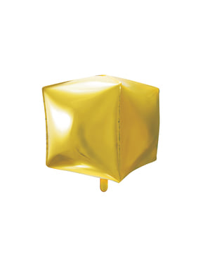 Foil balloon in the shape of a cube in gold