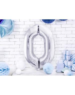 "Fóliový balónek číslo ""0"" stříbrný, 86 cm"