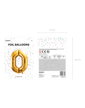 "Fóliový balónek číslo ""0"" zlatý, 86 cm"