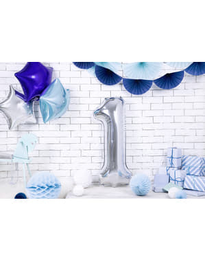 "Fóliový balónek číslo ""1"" stříbrný, 86 cm"