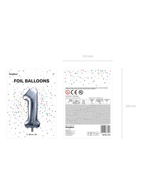 Srebrny balon foliowy Cyfra