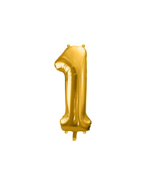 Номер «1» Фольга куля в золото, 86 см
